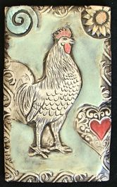 porcelain rooster art tile