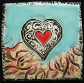 heart tile with flame