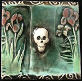 skull with flowers tile